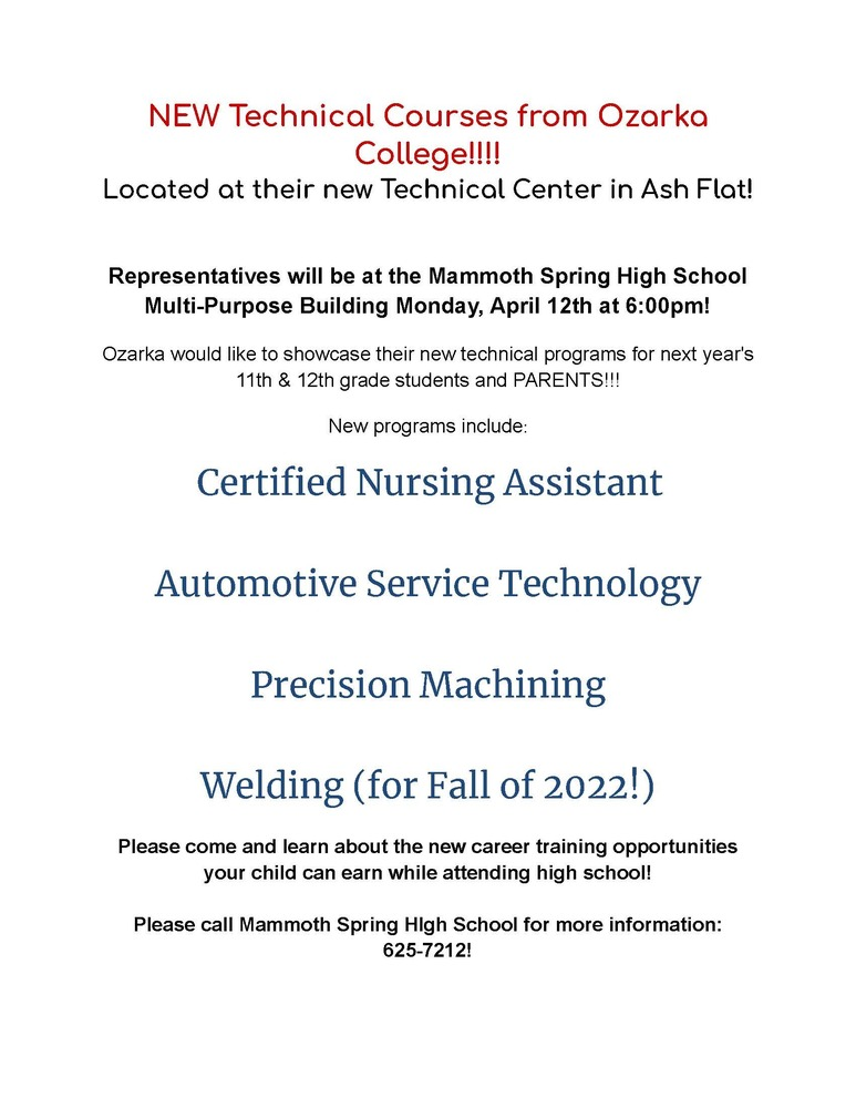 Ozarka Technical Courses Informational Meeting